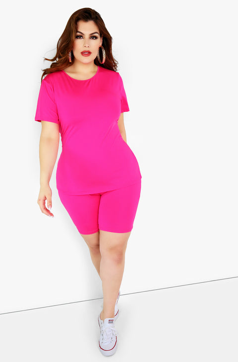 Pink Bermuda Leggings Plus Sizes