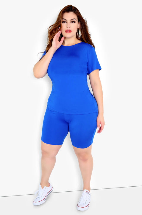 Royal Blue Bermuda Leggings Plus Sizes