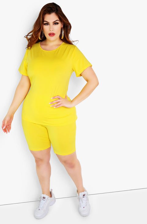 Yellow Bermuda Leggings Plus Sizes