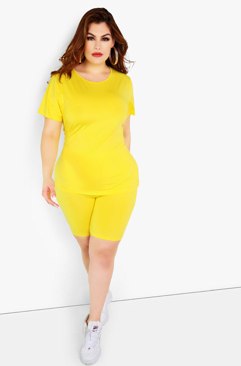 Yellow Long T-Shirt Plus Sizes