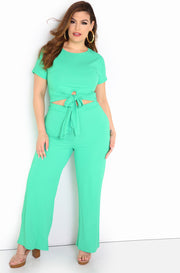 Sea Foam Green Waist Tied Crop Top Plus Size