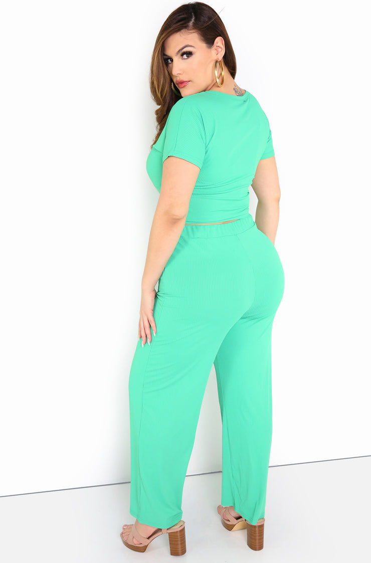 Sea Foam Green Wide Leg Pants Plus Size