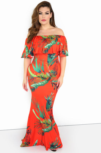 Red Floral Bodycon Maxi Dress Plus Sizes