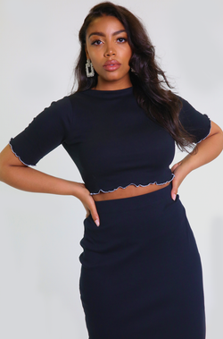 Black Raw Hem Crop Top Plus Sizes