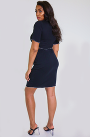 Black Raw Hem Mini Skirt Plus Sizes