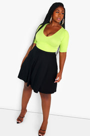 Lime Green Essential V-Neck Crop Top Plus Size