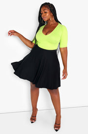 Black Essential Mini Skater Skirt w. Pockets Plus Size
