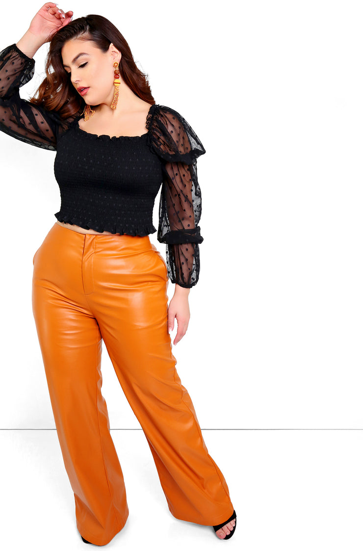 Mocha Faux Leather Wide Leg Pants Plus Size