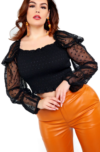 Black Mesh Puff Sleeve Smocked Top Plus Sizes