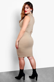 Nude Turtleneck One Sleeve Bodycon Plus Size Mini Dress
