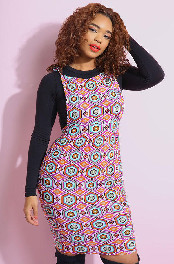 Pink Dungaree Mini Bodycon Dress plus sizes