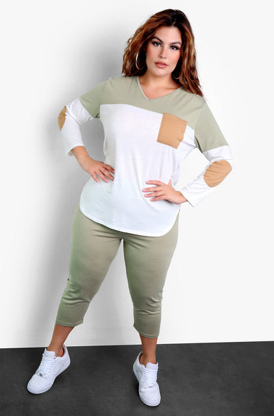 Olive High Waisted Cropped Leggings Plus Sizes
