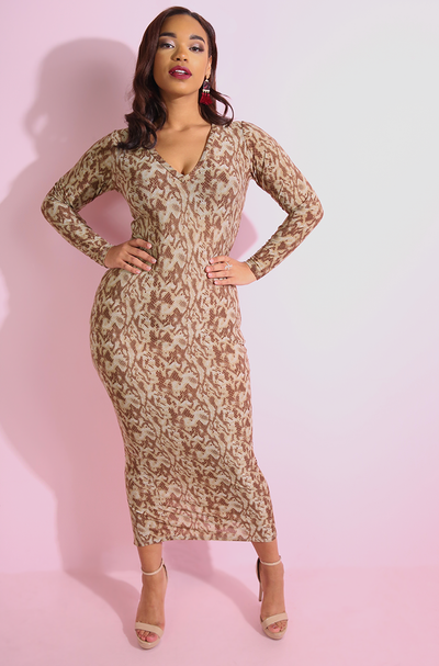Brown Snake Print Bodycon Maxi Dress plus sizes