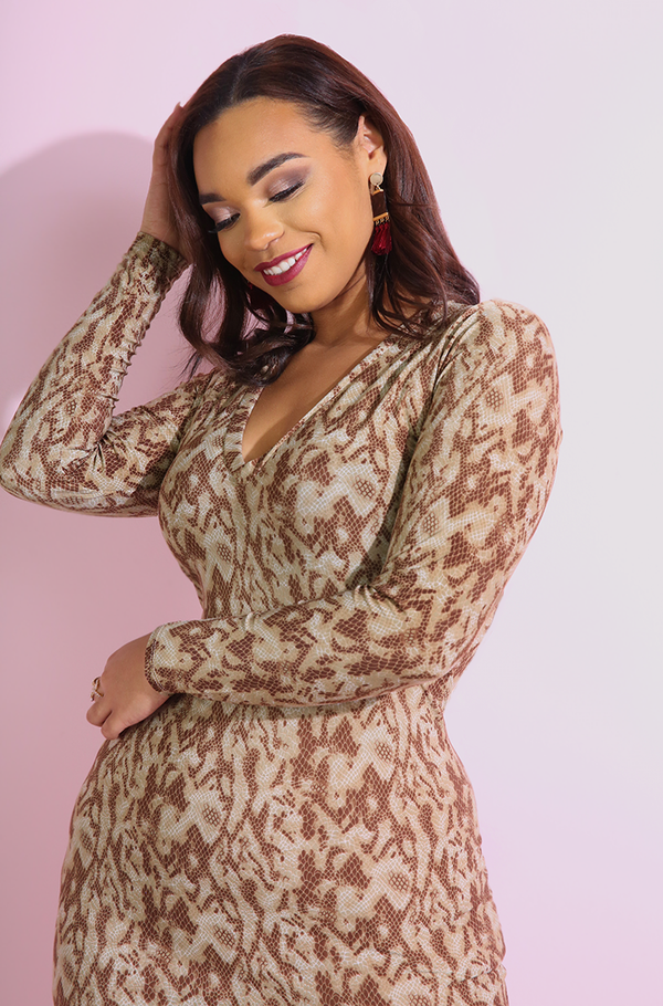 "Rebdolls ""Sneak In"" Snake Print Bodycon Maxi Dress"