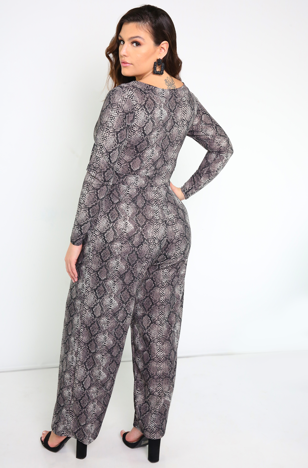Gray Snake Print Jumpsuit Plus Sizes