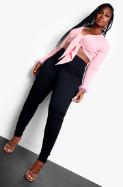 Pink Wrapped Crop Top Plus Sizes