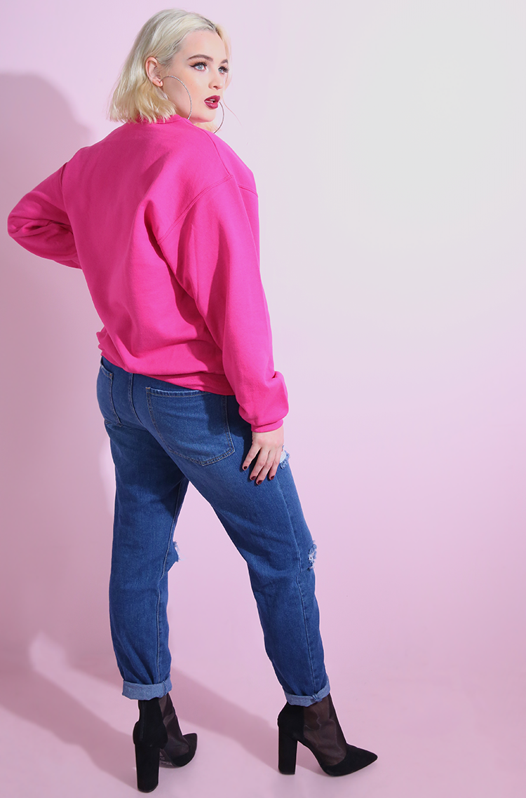 Fuchsia Sweatshirt plus sizes
