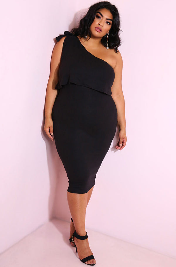 Black Bodycon Ruffled Midi Dress plus sizes