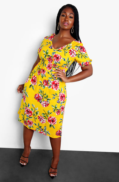 Yellow Smocked Waist Floral A-Line Midi Dress Plus Sizes
