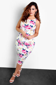 White Floral High Neck Bodycon Midi Dress Plus Size