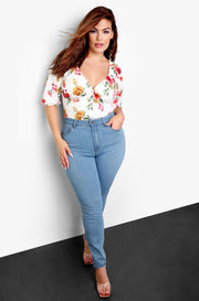 White Peasant Style Floral Bodysuit Plus Sizes