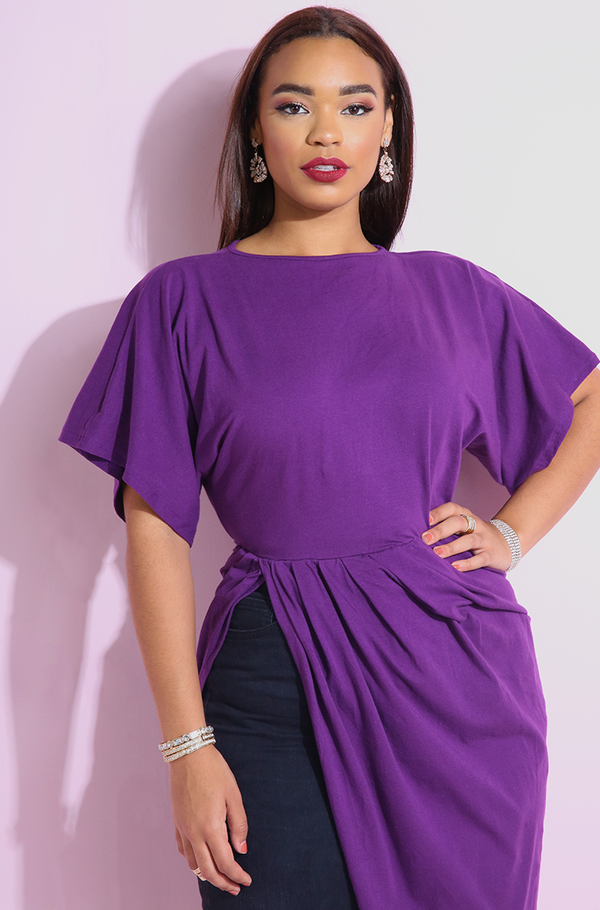 Purple going out Draped Top, high slit top plus sizes