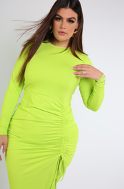 Neon Green Ruched Long Sleeve Midi Dress Plus Sizes
