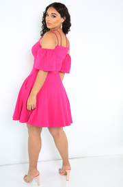 Fuchsia Skater Mini Dress With Pockets Plus Sizes