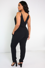 Black Pleated casual Jumpsuit Plus Sizes