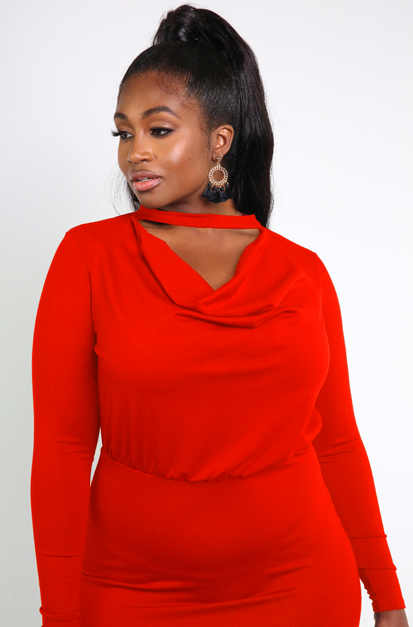 Red Cowl Neck Bodycon Mini Dress Plus Sizes