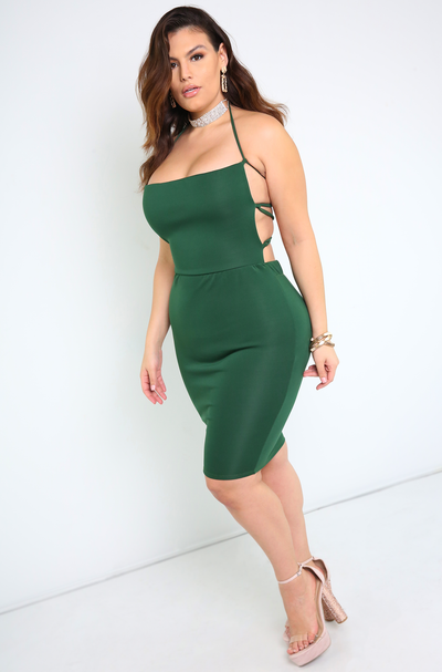 Holiday Caged Back Bodycon Mini Dress Plus Sizes