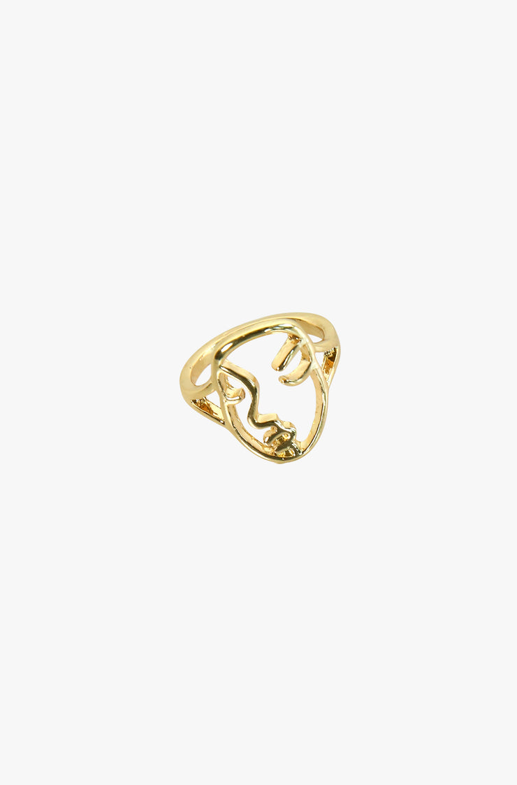 Gold Face Design Gold Ring