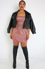 Rose Gold Bodycon Mini Dress Plus Sizes