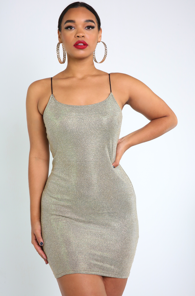 Green Gold Bodycon Mini Dress Plus Sizes