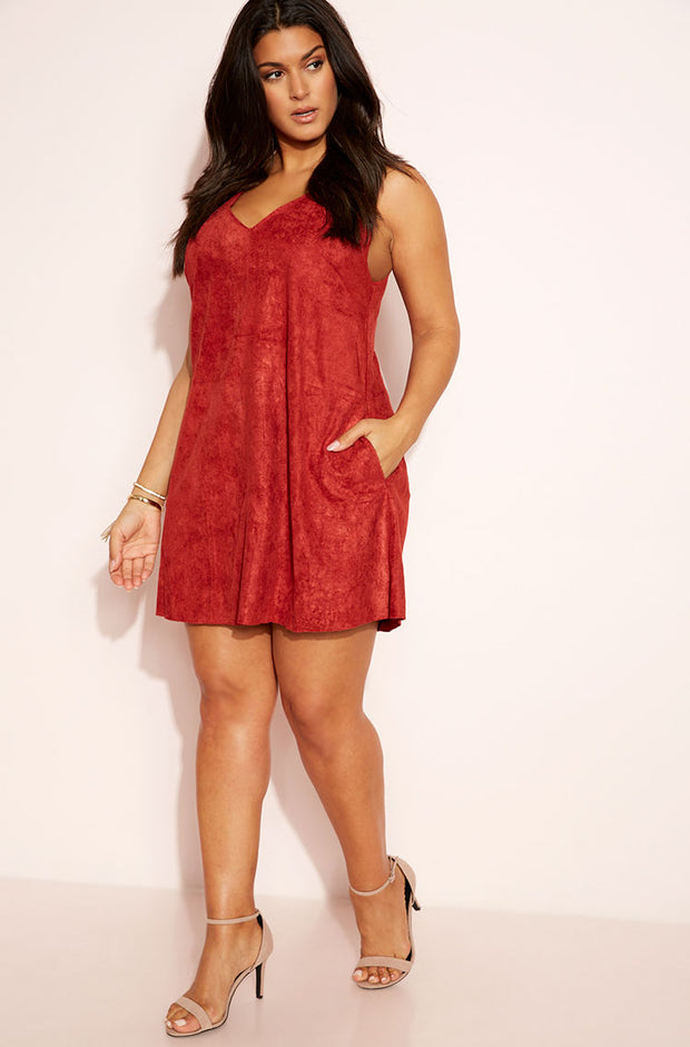 Burnt Red Suede V-Neck Mini Dress plus sizes
