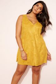 Mustard Suede V-Neck Mini Dress plus sizes