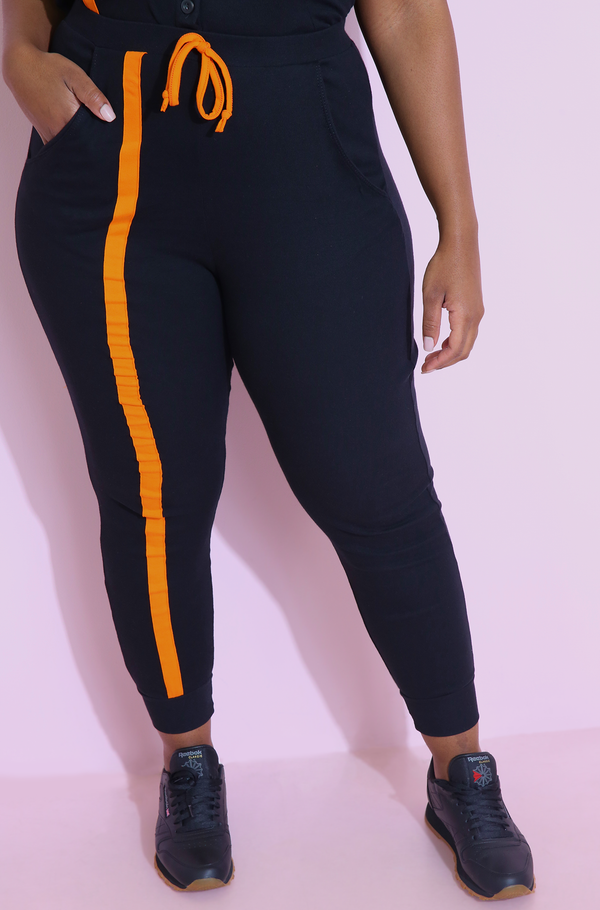 Black Striped Jogger Pant With Pockets Plus Sizes