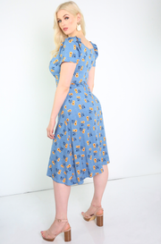 Blue Floral Puff Sleeve A-Line Midi Dress Plus Sizes
