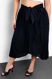 Black High Low Velvet Midi Skirt Plus Sizes