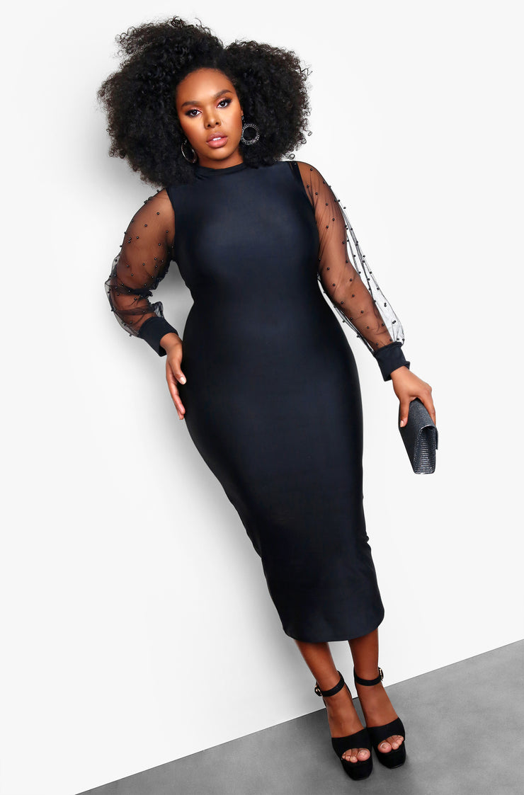 "Rebdolls ""Special Events"" Mesh Long Sleeves with Polka Dots Bodycon Midi Dress - Black"