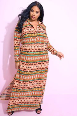 Coral Double Slit Skater Maxi Dress plus sizes