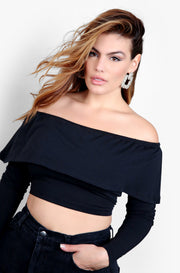 Black Over The Shoulder Long Sleeve Crop Top