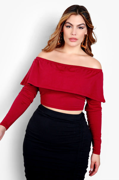 Burgundy Over The Shoulder Long Sleeve Crop Top