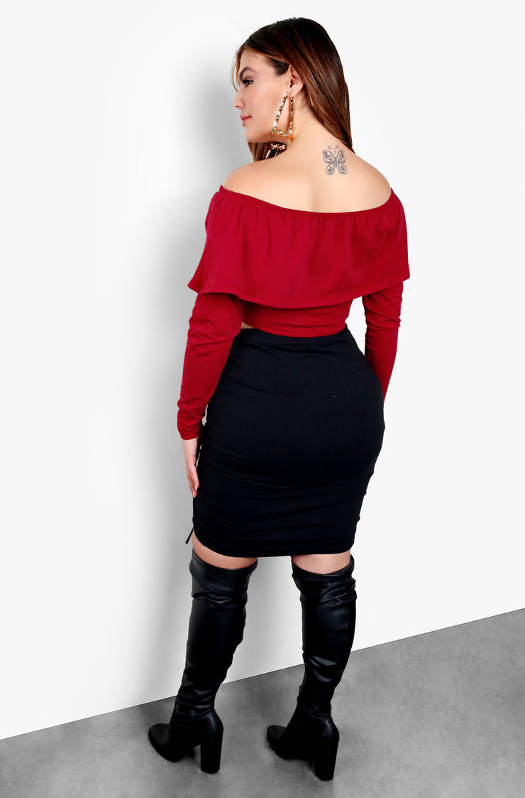 Over The Shoulder Long Sleeve Crop Top