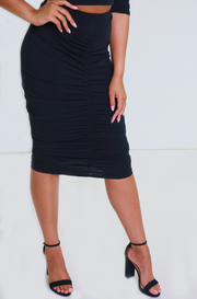 Black Ruched Midi Skirt Plus Sizes