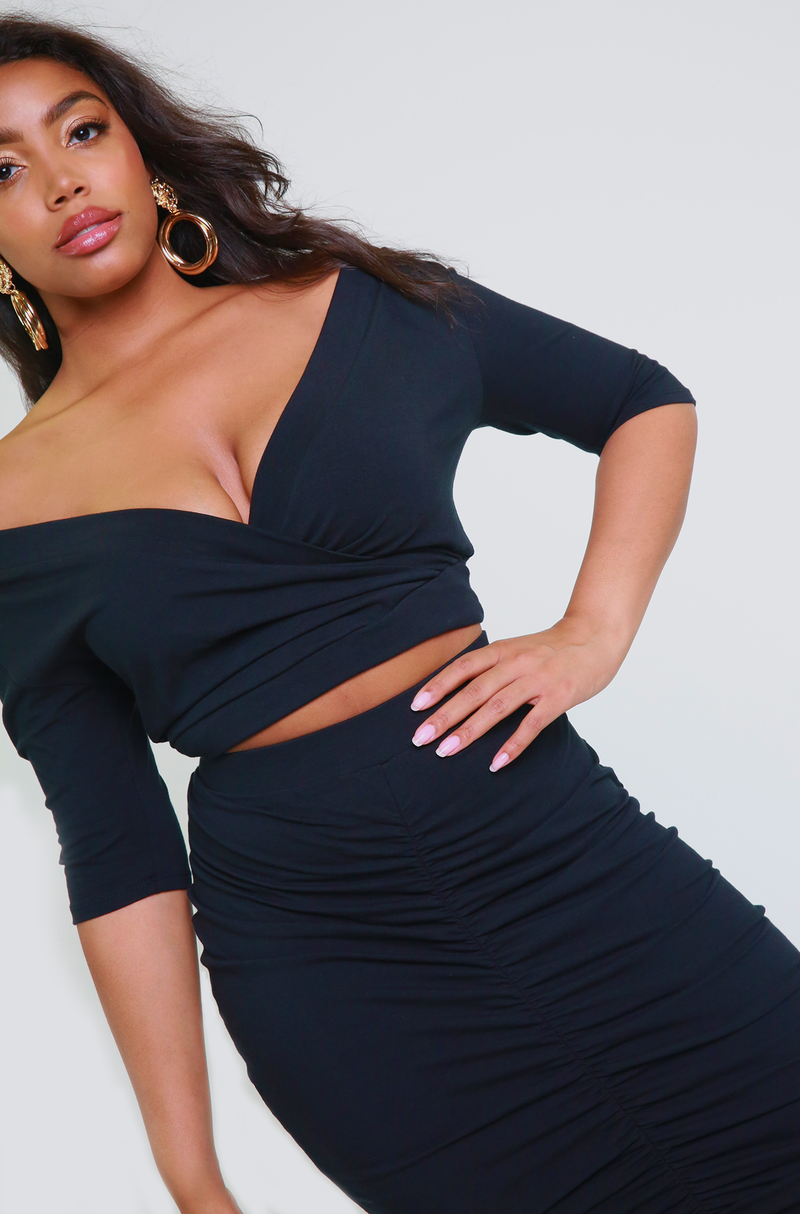 Black Over The Shoulder Crop Top Plus Sizes
