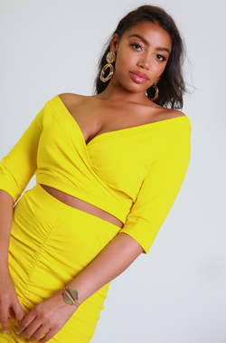 Yellow Over The Shoulder Crop Top Plus Sizes