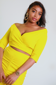 Yellow Ruched Midi Skirt Plus Sizes