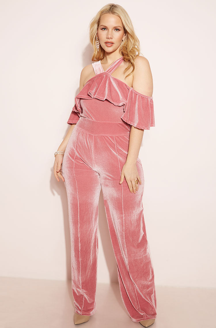 Pink Ruffled Wide Leg Jumpsuit plus sizes