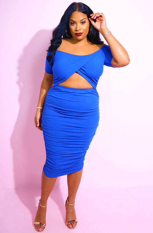 Royal Blue Cut-Out Ruched Midi Dress plus sizes